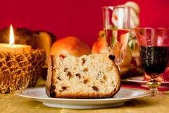 Panettone, traditional Italian Christmas cake royalty free stock photo