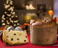 Panettone. Is the traditional Italian dessert for Christmas Stock Photos
