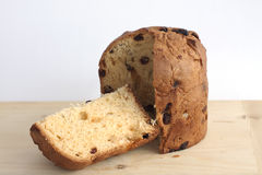 Panettone on a wooden board Royalty Free Stock Photo