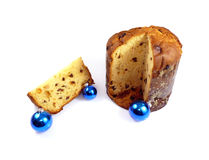 Panettone and xmas balls Royalty Free Stock Photography