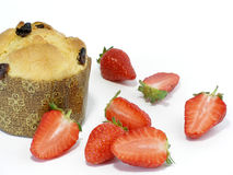 Panettoni and strawberries royalty free stock photos
