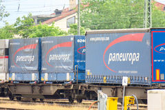 Paneuropa cargo train. Paneuropa freighttrain with copy space Stock Photos