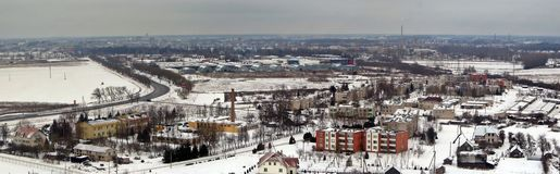Panevezys cityscape. View from TV tower in Pazagieniai. Winter in Lithuania Royalty Free Stock Photo