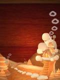 Panez la maison à trois niveaux sur un ciel rayé de rouge de fond Images stock
