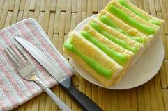 Panez préparer la sauce à crème anglaise de beurre et de pandanus du plat Photographie stock libre de droits