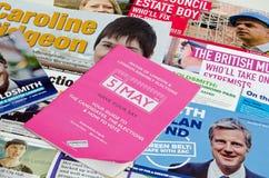 Panfletos da eleição do prefeito de Londres Foto de Stock