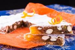 Panforte fruitcake, παραδοσιακό ιταλικό κέικ Χριστουγέννων Στοκ Εικόνες
