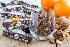 Panforte italian christmas dessert with nuts and candied fruits, horizontal Royalty Free Stock Photo