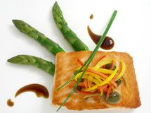 Panfried salmon with asparagus 3. Panfried salmon with asparagus and capers stock photo