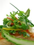 Panfried salmon with asparagus and salad 2. Panfried salmon with asparagus and salad leaves royalty free stock photo