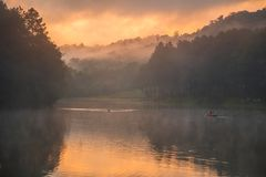 Pang Oung Lake at Mae hong son Thailand. Royalty Free Stock Image