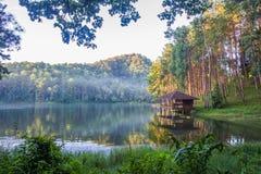 Romantic morning scenery of Huai Pang tong Reservoir and pine forests at Pang Oung,Pang Tong Royal Development Project,Ban Ruam Th Royalty Free Stock Photography