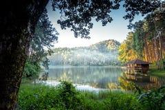 Romantic morning scenery of Huai Pang tong Reservoir and pine forests at Pang Oung,Pang Tong Royal Development Project,Ban Ruam Th Stock Photography