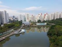 Pang Sua Pond i Bukit Panjang, Singapore Arkivbild