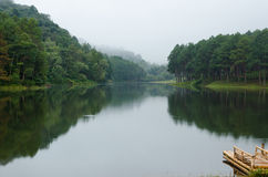 Pang Ung, Beautiful forest lake in the morning Royalty Free Stock Photography