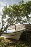 Panga fishing boat  commercial lobster traps Big Corn Island  Stock Image