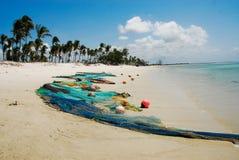 Pangane Beach. Net in Pangane Beach, Mozambique Royalty Free Stock Photos
