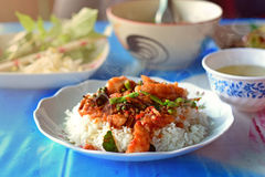 Pangasius Dory fish Spicy Stir-Fry Serve on the table Royalty Free Stock Photos