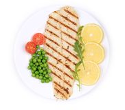 Pangasius fillet on plate. Stock Image
