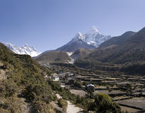 Pangboche, Nepal. The village of Pangboche with Ama Dablam, Nuptse, and Lhotse in the background Stock Photo