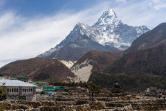 Pangboche village with Ama Dablam mountain peak, Everest region. Nepal Royalty Free Stock Photo
