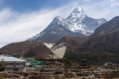Pangboche village with Ama Dablam mountain peak, Everest region Royalty Free Stock Photo