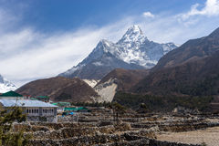 Pangboche village in front of Ama Dablam mountain, Everest regio. N, Nepal, Asia Royalty Free Stock Image