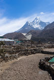 Pangboche village in front of Ama Dablam mountain, Everest regio Royalty Free Stock Photos