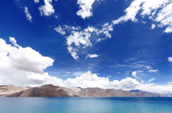 Pangong lake and beautiful mountain and sky Stock Image