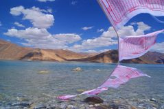 Pangong lake. Flags dry mountains landscape nature blue sky water leh royalty free stock photos