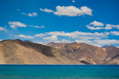 Pangong Lake in Ladakh,India. Pangong Tso, Tibetan for long, narrow, enchanted lake, also referred to as Pangong Lake, is an endorheic lake in the Himalayas Royalty Free Stock Image