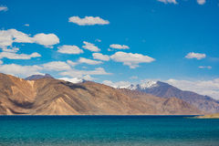 Pangong Lake in Ladakh,India. Pangong Tso, Tibetan for long, narrow, enchanted lake, also referred to as Pangong Lake, is an endorheic lake in the Himalayas Stock Images