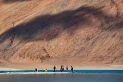 Pangong Lake in Ladakh,India. Pangong Tso, Tibetan for long, narrow, enchanted lake, also referred to as Pangong Lake, is an endorheic lake in the Himalayas Royalty Free Stock Photography