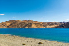 Pangong Lake in Ladakh,India. Pangong Tso, Tibetan for long, narrow, enchanted lake, also referred to as Pangong Lake, is an endorheic lake in the Himalayas Stock Photos