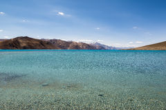 Pangong Lake in Ladakh,India. Pangong Tso, Tibetan for long, narrow, enchanted lake, also referred to as Pangong Lake, is an endorheic lake in the Himalayas Royalty Free Stock Images