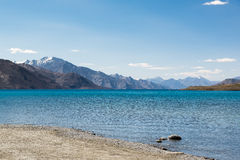 Pangong Lake in Ladakh,India. Pangong Tso, Tibetan for long, narrow, enchanted lake, also referred to as Pangong Lake, is an endorheic lake in the Himalayas Royalty Free Stock Photos