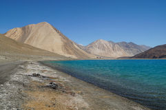 Pangong Lake in Ladakh, Jammu and Kashmir State, India. Stock Photo