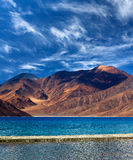 Pangong Lake in Ladakh, Jammu and Kashmir State, India Royalty Free Stock Images
