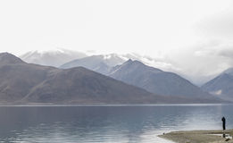 Pangong Lake. A lonly person standing on the edge of a lake in a beautiful place Stock Images