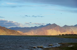 Pangong lake in Northern India Stock Photos