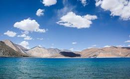 Pangong Lake. Pangong Tso - The highest salt water lake in the world stock images