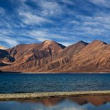 Pangong Tso湖,印度全景  库存图片
