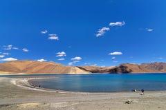 Pangong tso (湖), Leh,拉达克,查谟和克什米尔,印度 免版税图库摄影