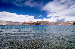 Pangong tso Lake with Mountains in background Stock Photography