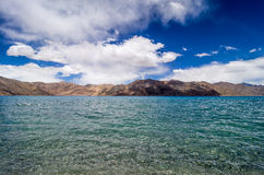 Pangong tso Lake with Mountains in background Stock Photos