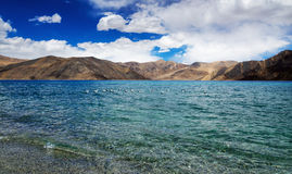 Pangong tso Lake with Mountains in background Stock Images