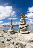Pangong Tso mountain lake panorama with Buddhist Stock Images