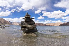 Pangong Tso mountain lake panorama with Buddhist stupas in foref Royalty Free Stock Photography