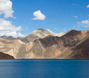 Pangong Tso mountain lake panorama with mountains  Stock Images