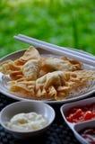 Pangsit goreng mayonaise. Contain shrimp Stock Photos